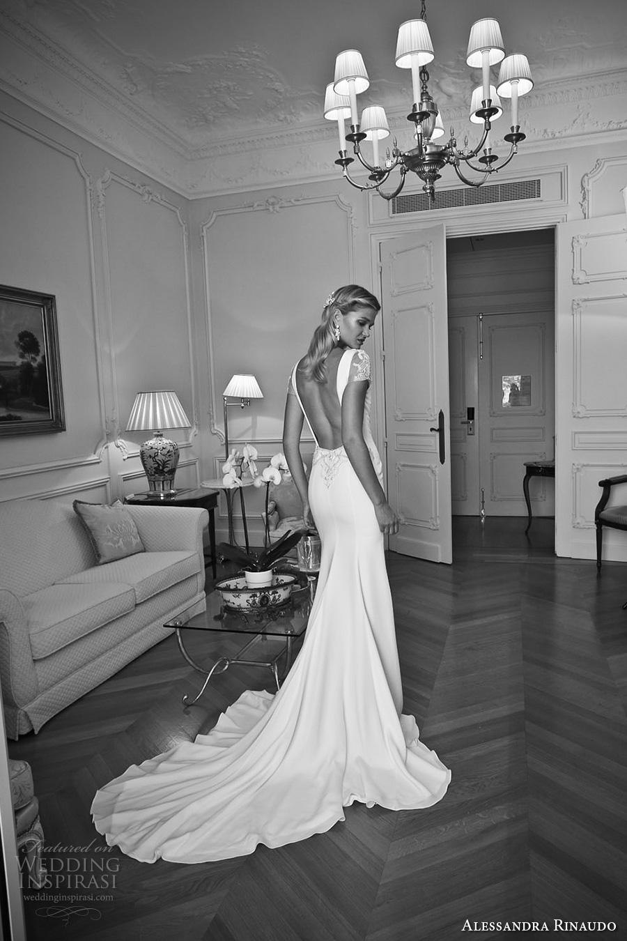 alessandra rinaudo 2017 bridal short sleeves plunging v neck simple clean elegant sheath wedding dress open low back chapel train (19) bv