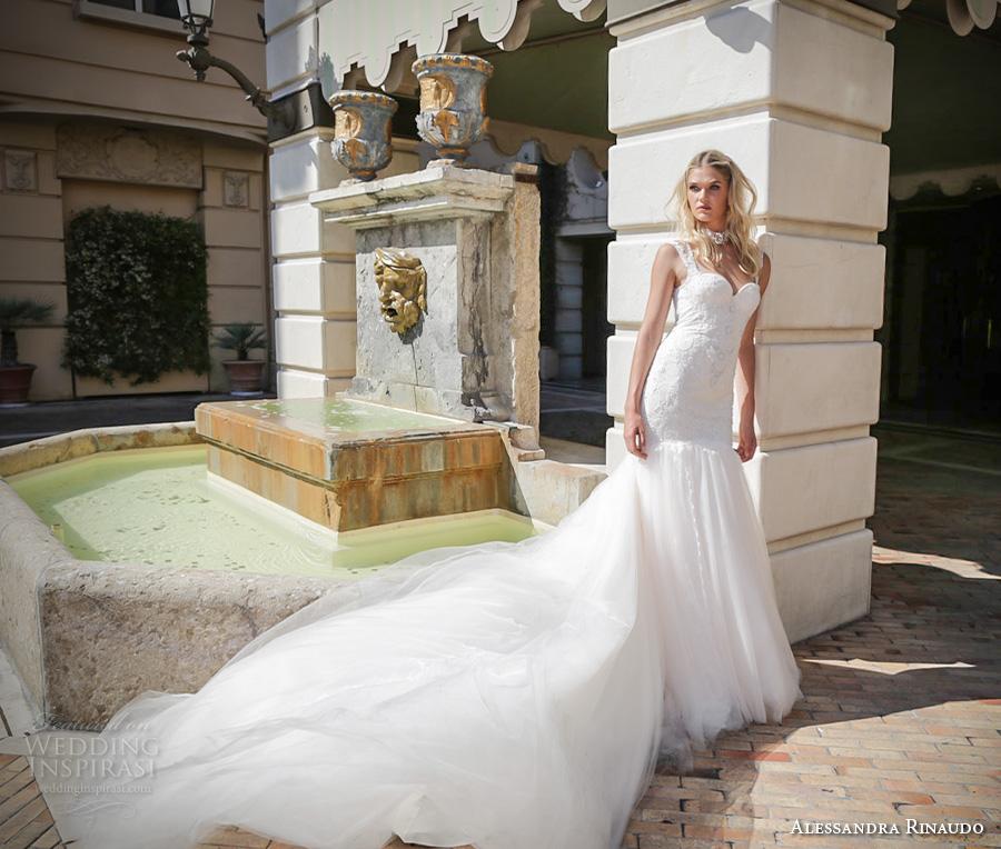 alessandra rinaudo 2017 bridal sleeveless lace strap sweetheart neckline drop waist heavily embellished bodice tulle skirt a  line wedding dress illusion back long train (30) mv