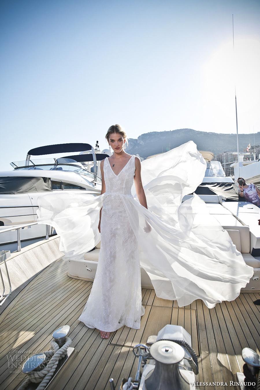 alessandra rinaudo 2017 bridal sleeveless v neck full embellishment elegant sheath wedding dress low open back chapel train (21) mv