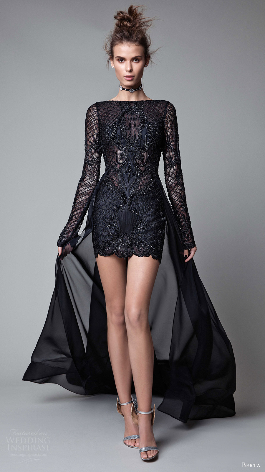 berta rtw fall 2017 (17 04) illusion long sleeves neck bateau neck mini short evening dress mv