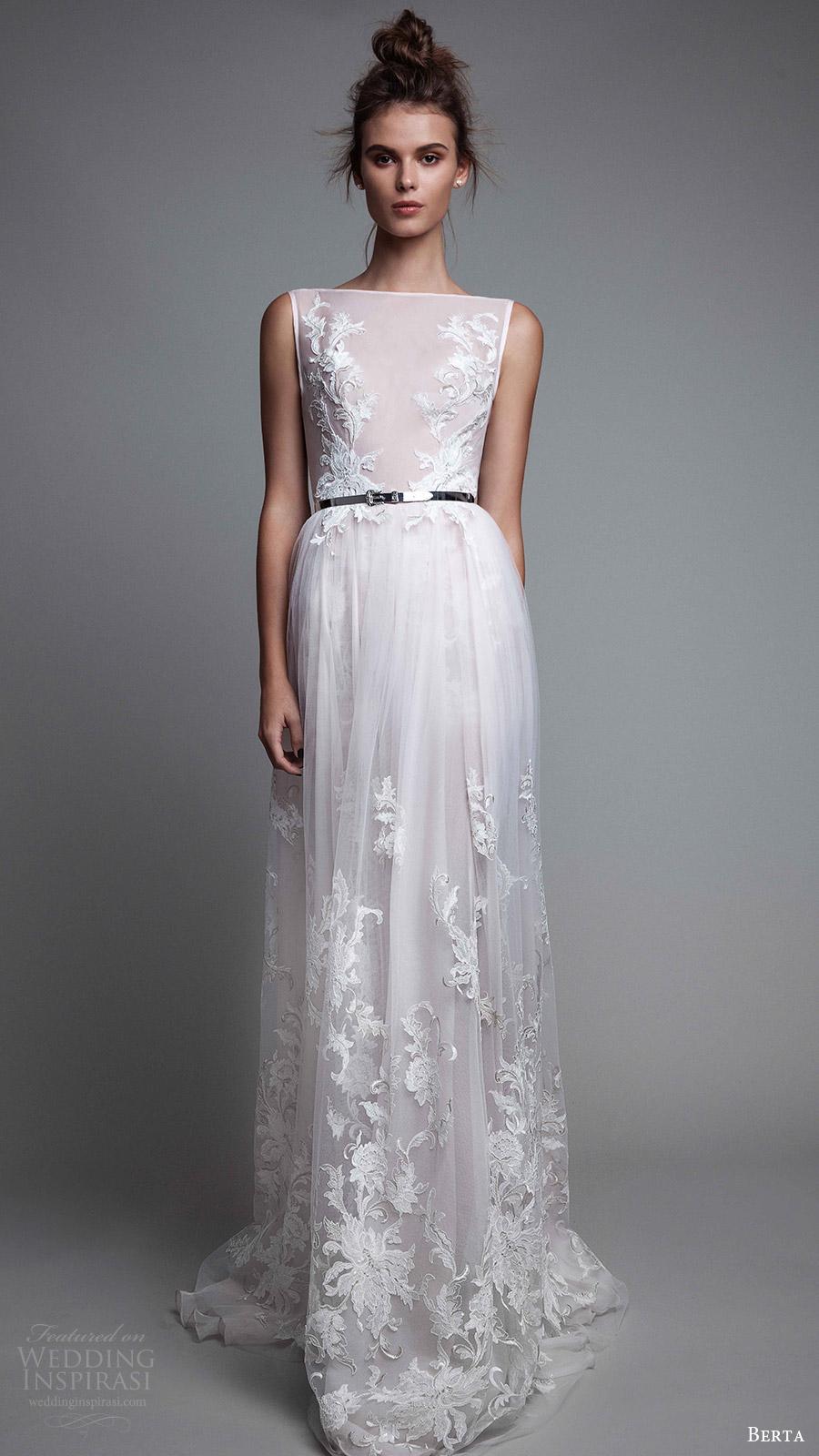 berta rtw fall 2017 (17 16) sleeveless bateau neck aline sheer bodice white wedding dress style evening gown mv