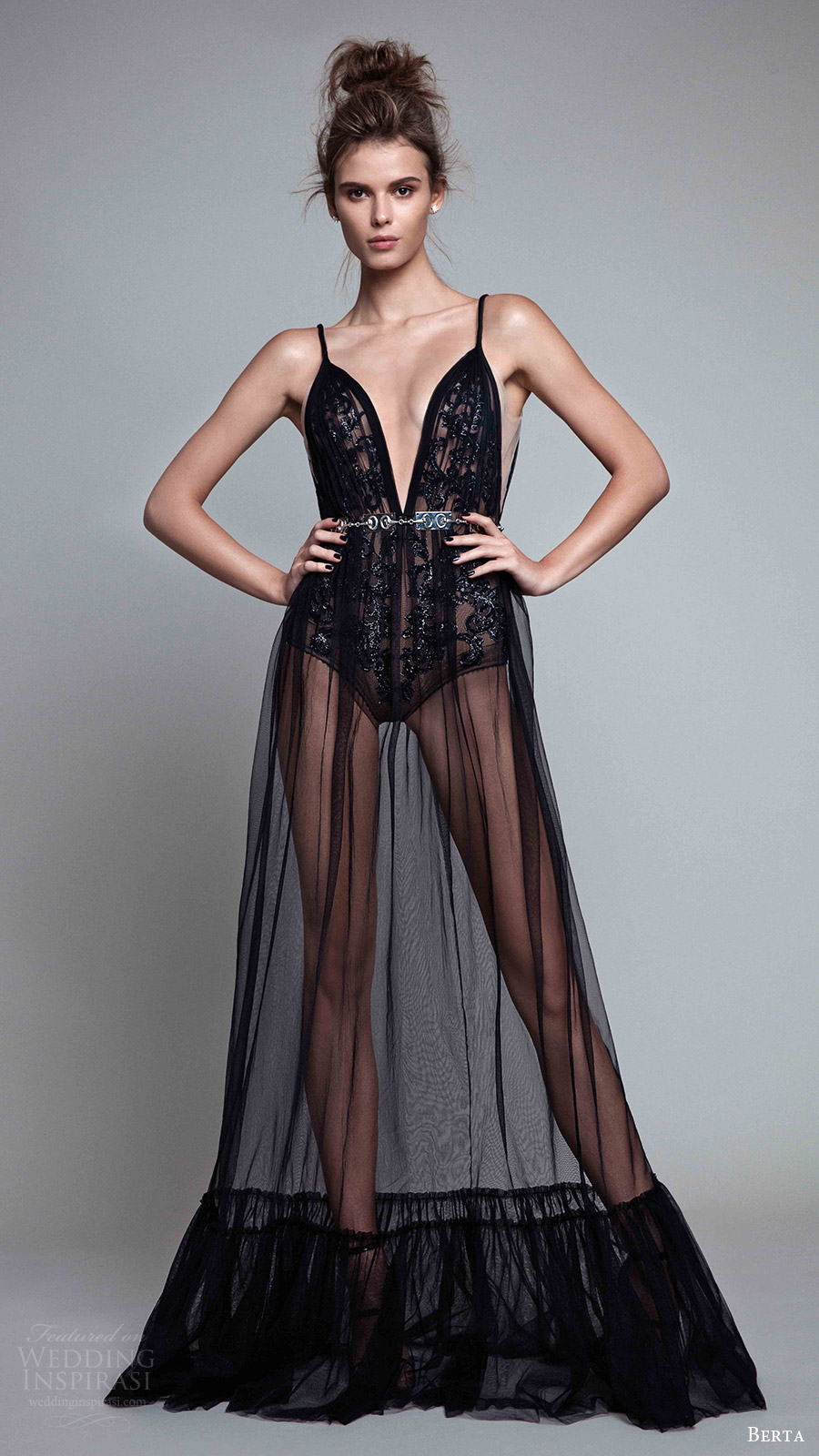 berta rtw fall 2017 (17 18) sleeveless deep v neck evening dress sheer skirt mv