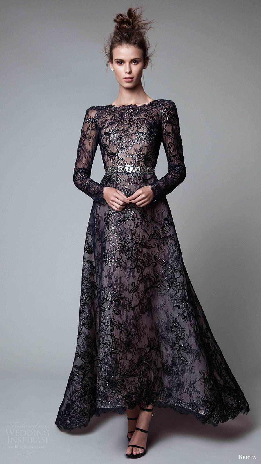 berta rtw fall 2017 (17 20) long sleeves jewel neck a line embellished evening dress black mv