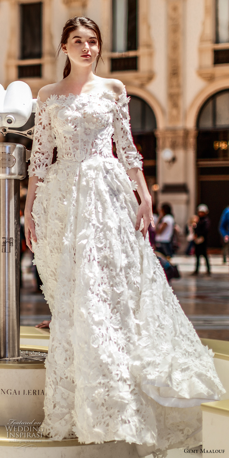 gemy maalouf 2017 bridal three quarter sleeves off the shoulder straight across neck full embellishment romantic princess a line wedding dress sweep train (w17 4871) mv