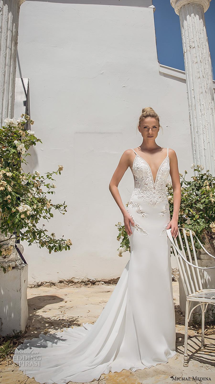 michal medina 2017 bridal spagetti strap deep plunging sweetheart neckline heavily embellished bodice elegant sheath wedding dress open low back chapel train (dianne) mv