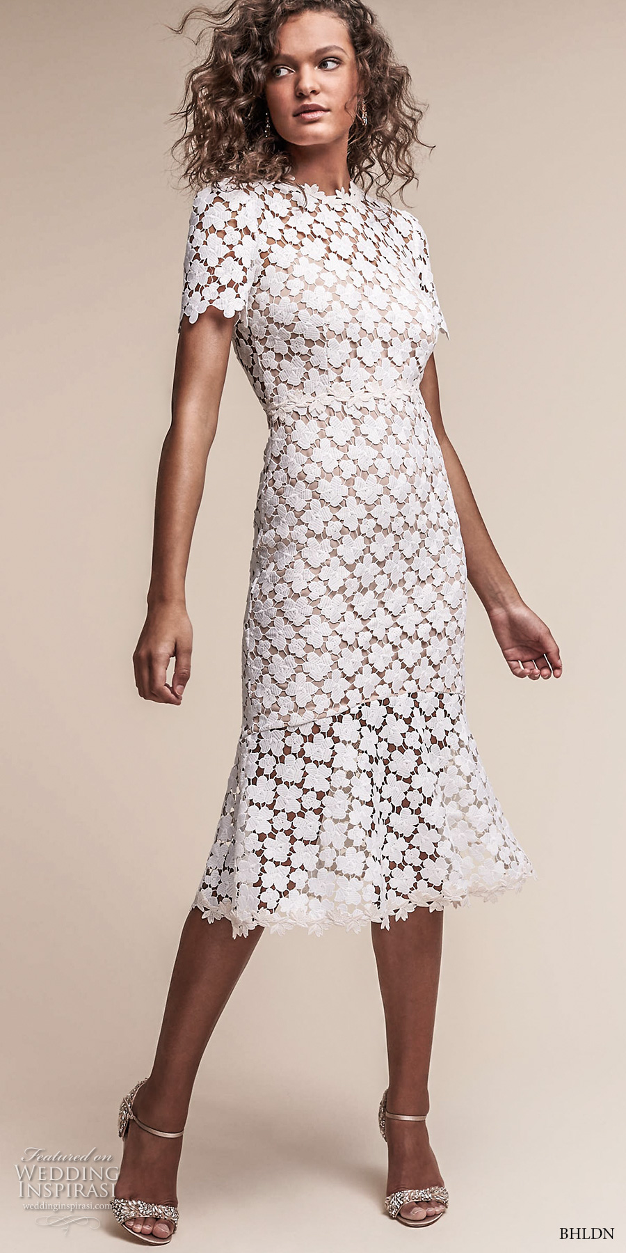 bhldn spring 2017 bridal short sleeves jewel neck full embellishment romantic below the knee short wedding dress keyhole back (lowri) mv