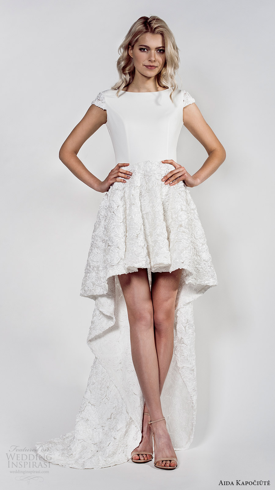 aida kapociute 2017 bridal cap sleeces bateau neck high low a line wedding dress (5) mv