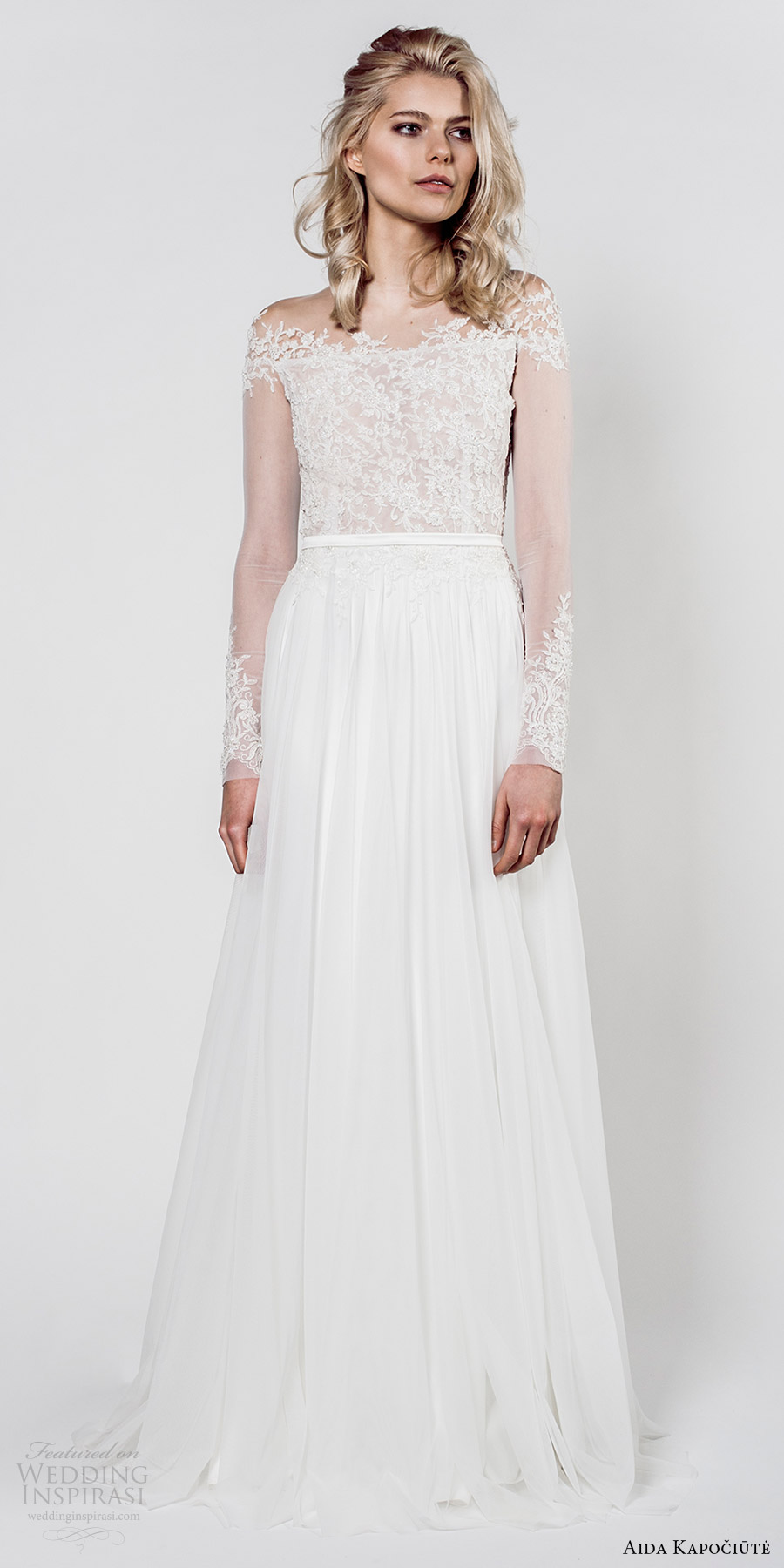 aida kapociute 2017 bridal illusion long sleeves sheer off shoulder lace bodice a line wedding dress (11) mv romantic