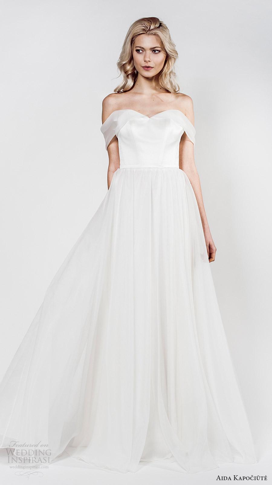 aida kapociute 2017 bridal off shoulder sweetheart ball gown minimal embellishment wedding dress (6) mv romantic