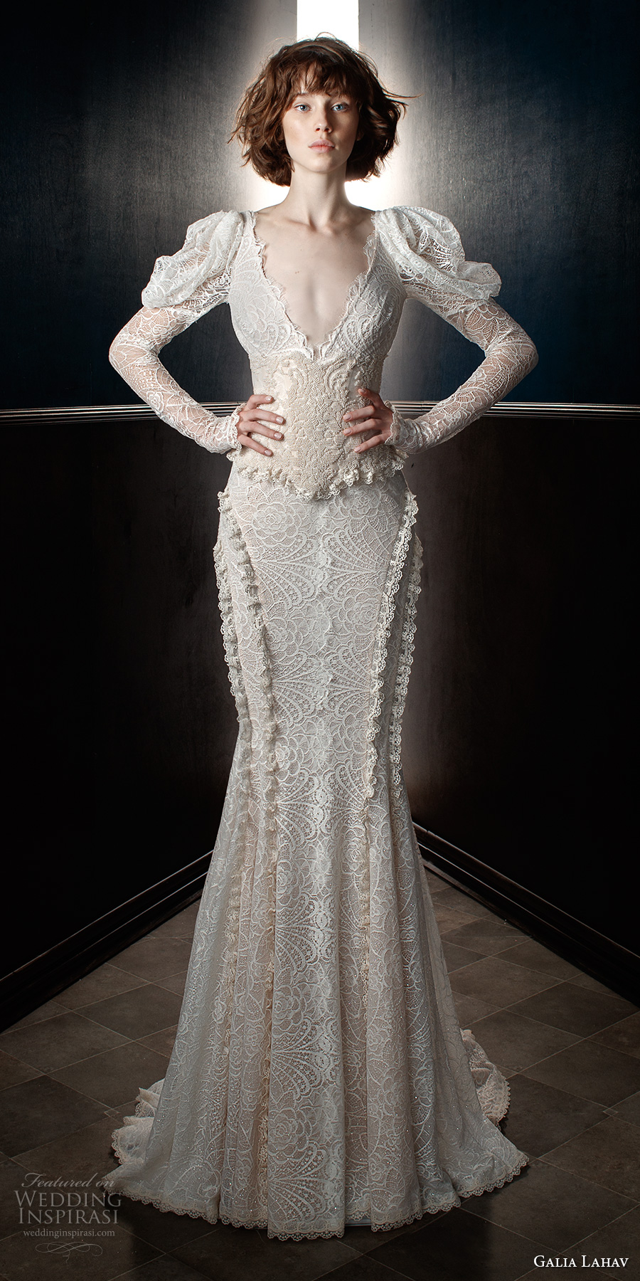 galia lahav spring 2018 bridal leg of mutton long sleeves v neck full embellishment elegant vintage fit and flare wedding dress mid scoop back chapel train (charlie and dolly belt) mv