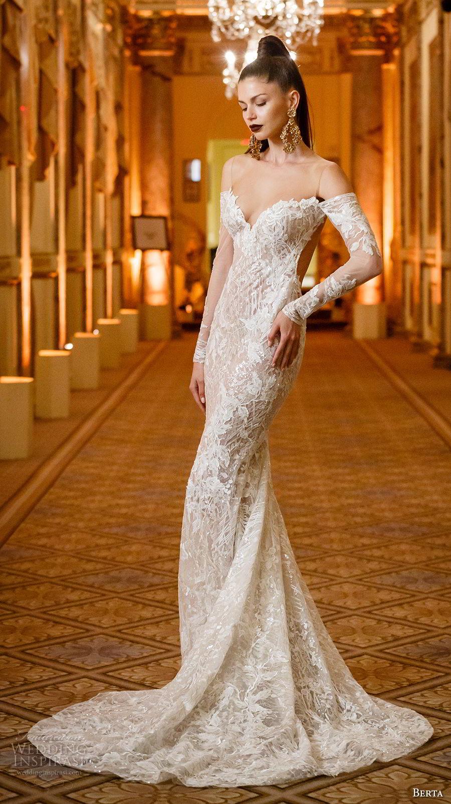 berta spring 2018 bridal long sleeves off the shoulder sweetheart neckline full embellishment elegant sexy fit and flare wedding dress open low back chapel train (02) mv