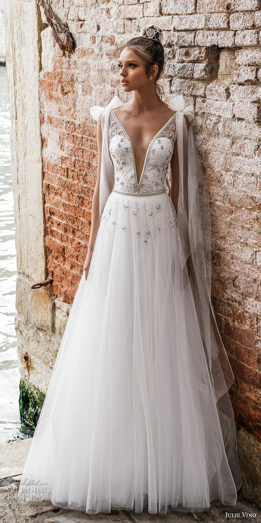 0ae93f4f8ee9 julie vino spring 2018 bridal sleeveless deep plunging v neck heavily  embellished bodice romantic a line