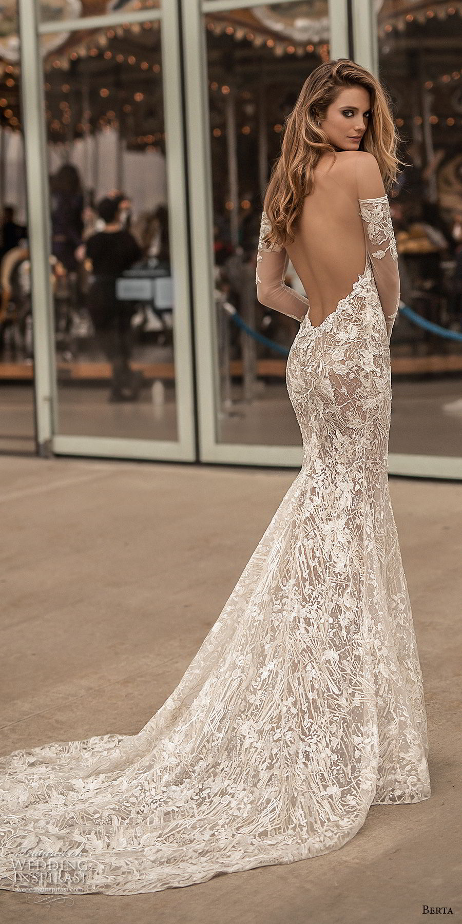 berta spring 2018 bridal long sleeves off the shoulder sweetheart neckline full embellishment sexy elegant fit and flare wedding dress open low back medium train (3) bv
