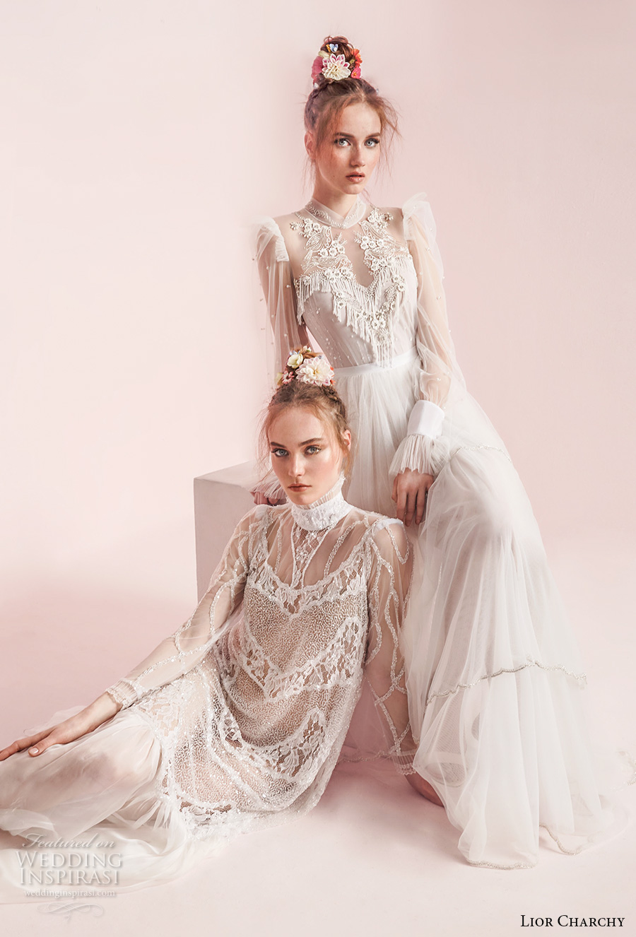 lior charchy spring 2017 bridal long sleeves retro bohemian wedding gowns