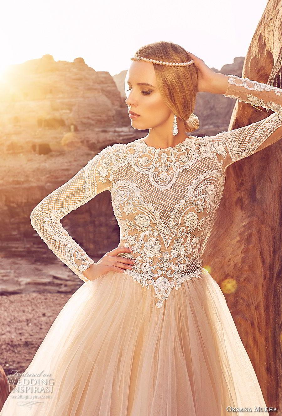 oksana mukha 2018 bridal long sleeves jewel neck heavily embellished lace bodice tulle skirt romantic a line wedding dress covered lace back royal train (khalissa) zv
