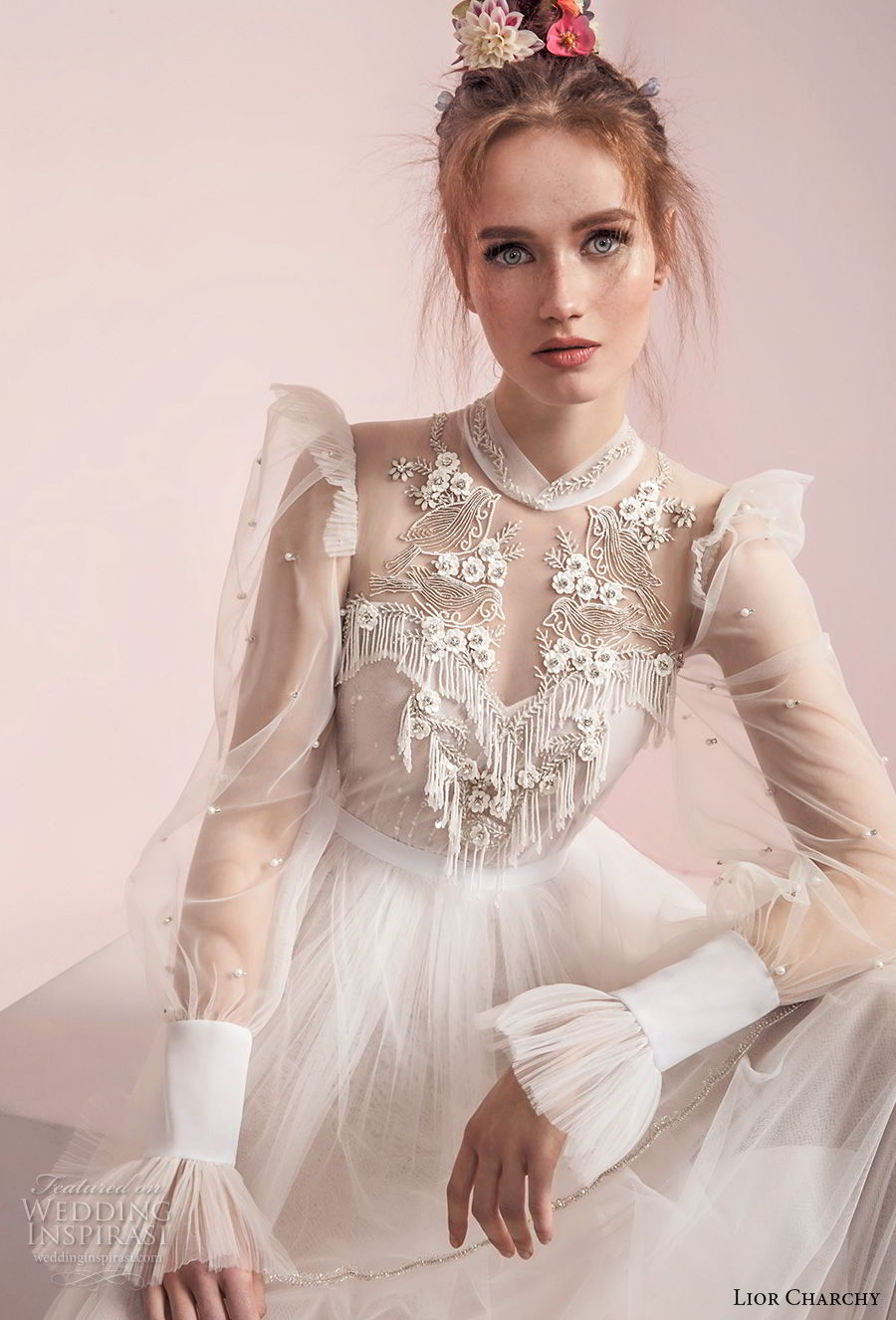 lior charchy spring 2017 bridal long sleeves illusion high neck sweetheart neck heavily embellished bodice layered skirt retro bohemian a line wedding dress (2) zv