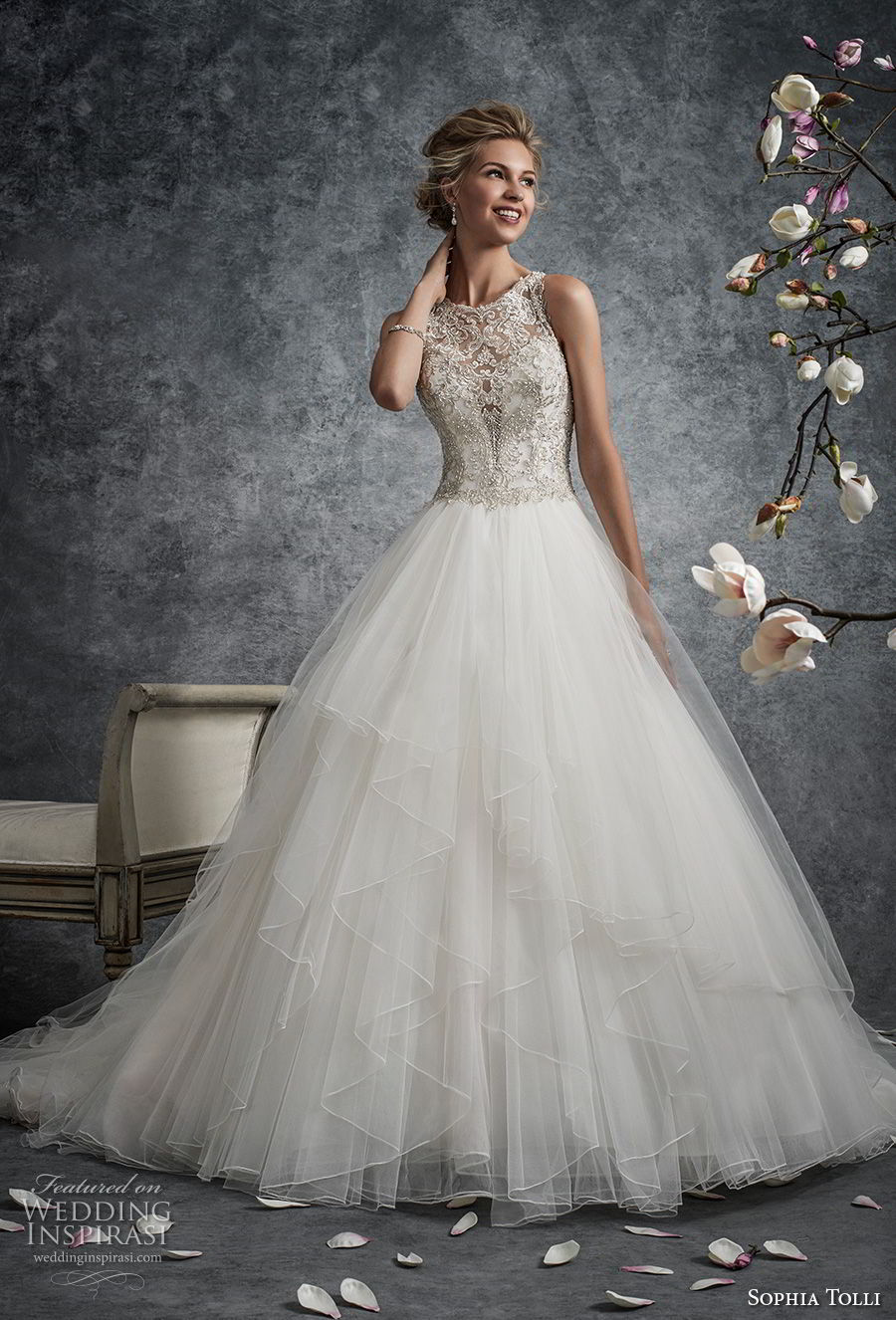 Dress Lace Soft Sweetheart Flare Neckline Line Embellished And Tulle And Fit Wedding