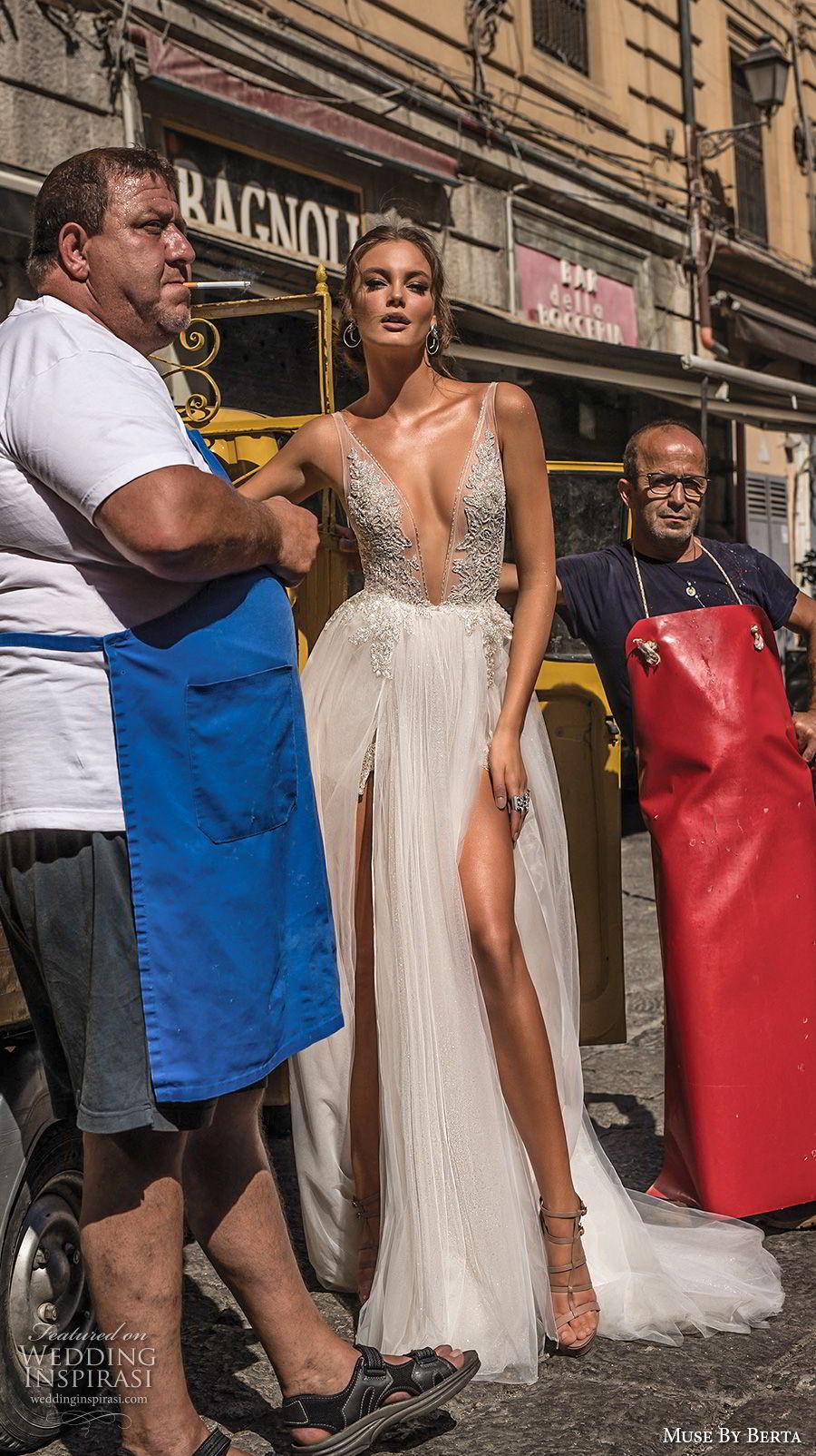 muse berta 2018 bridal sleeveless deep plunging v neck heavily embellished bodice high slit tulle skirt sexy romantic soft a line wedding dress open v back sweep train (2) mv