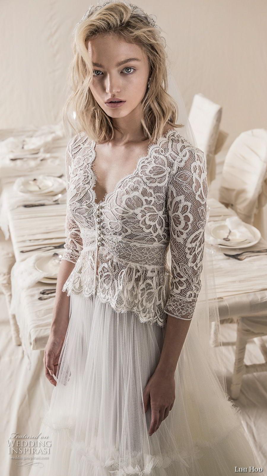 lihi hod 2018 bridal three quarter sleeves v neck heavily embellised bodice 2 piece lace jacket romantic a line wedding dress open back medium train (6) zv