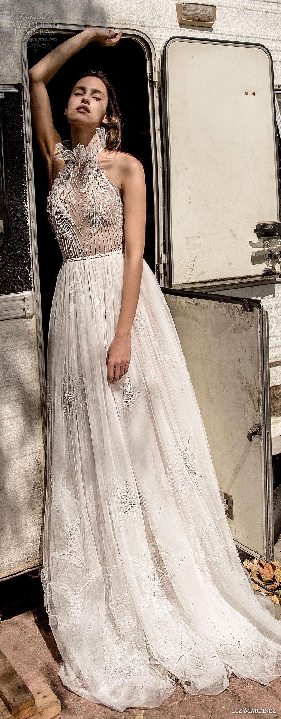 liz martinez 2018 lisbon halter neck high neck heavily embellished bodice elegant romantic soft a line wedding dress sweep train (2) mv fv