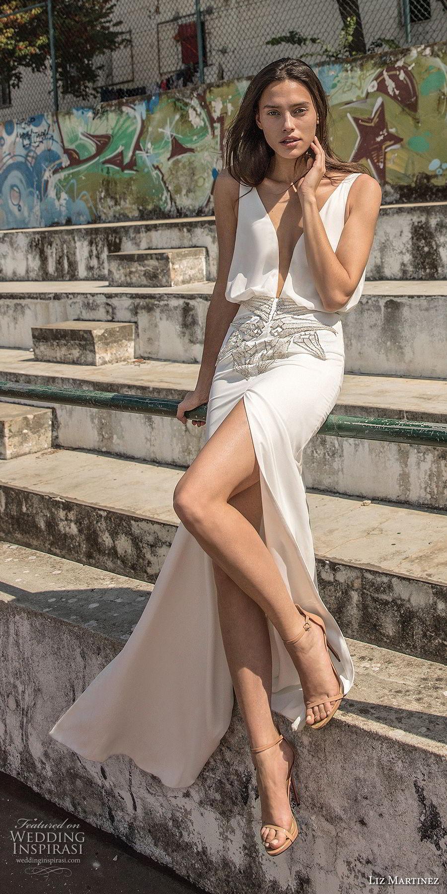 liz martinez 2018 lisbon sleeveless deep plunging v neck simple light embellishment high slit sexy sophiscated sheath wedding dress open scoop back sweep train (5) mv