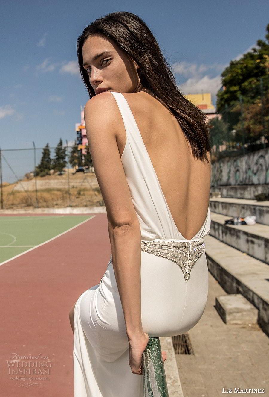 liz martinez 2018 lisbon sleeveless deep plunging v neck simple light embellishment high slit sexy sophiscated sheath wedding dress open scoop back sweep train (5) zbv