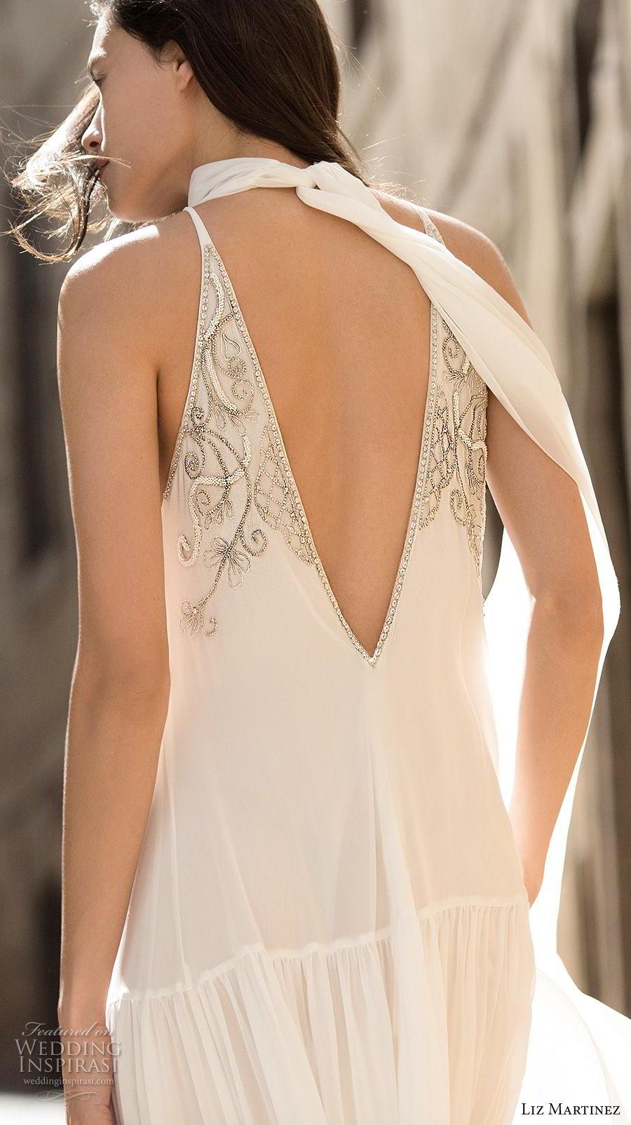 liz martinez 2018 lisbon sleeveless halter high neck heavily embellished bodice romantic elegant column a line wedding dress v back sweep train (3) bv