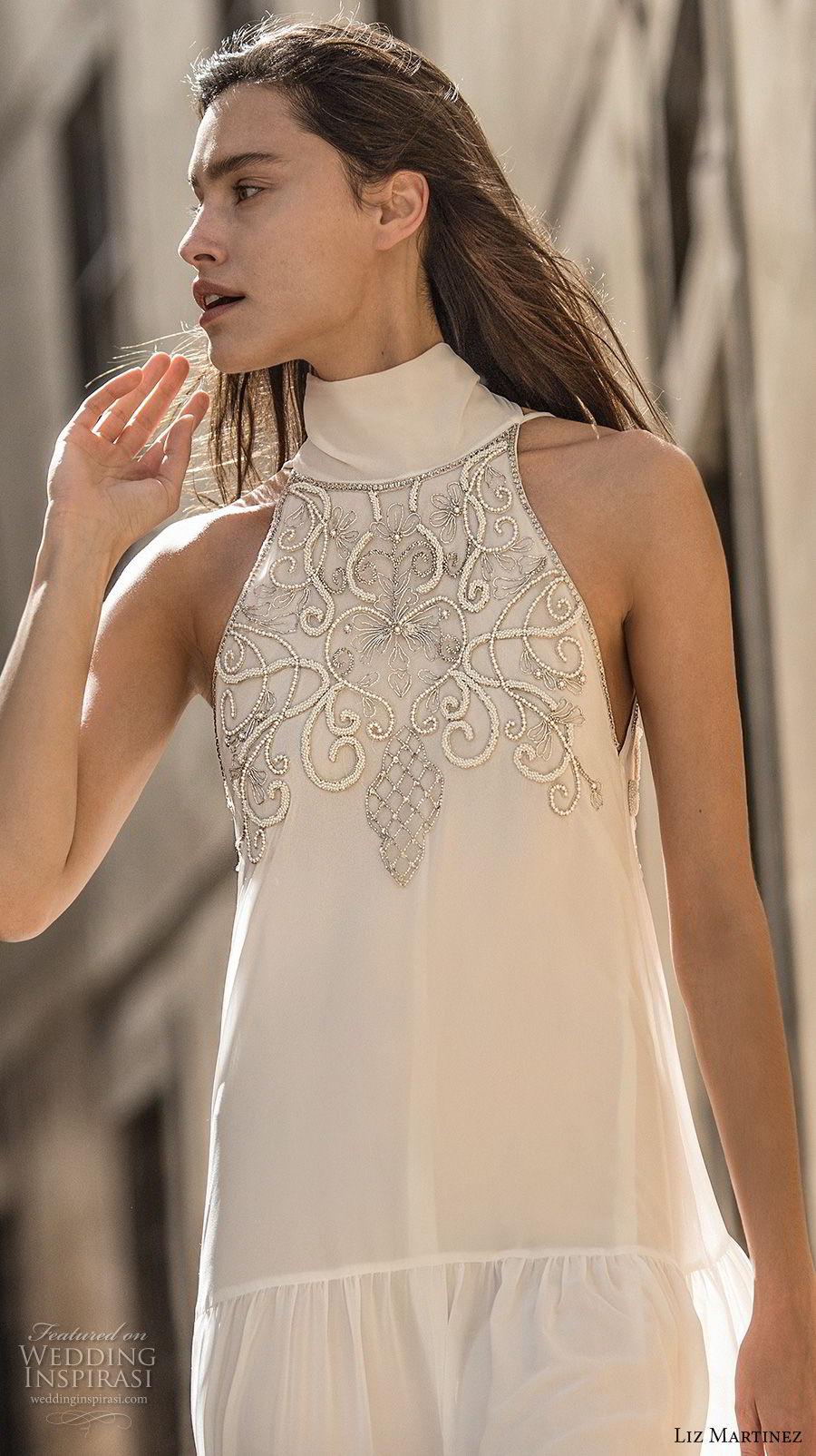 liz martinez 2018 lisbon sleeveless halter high neck heavily embellished bodice romantic elegant column a line wedding dress v back sweep train (3) zv