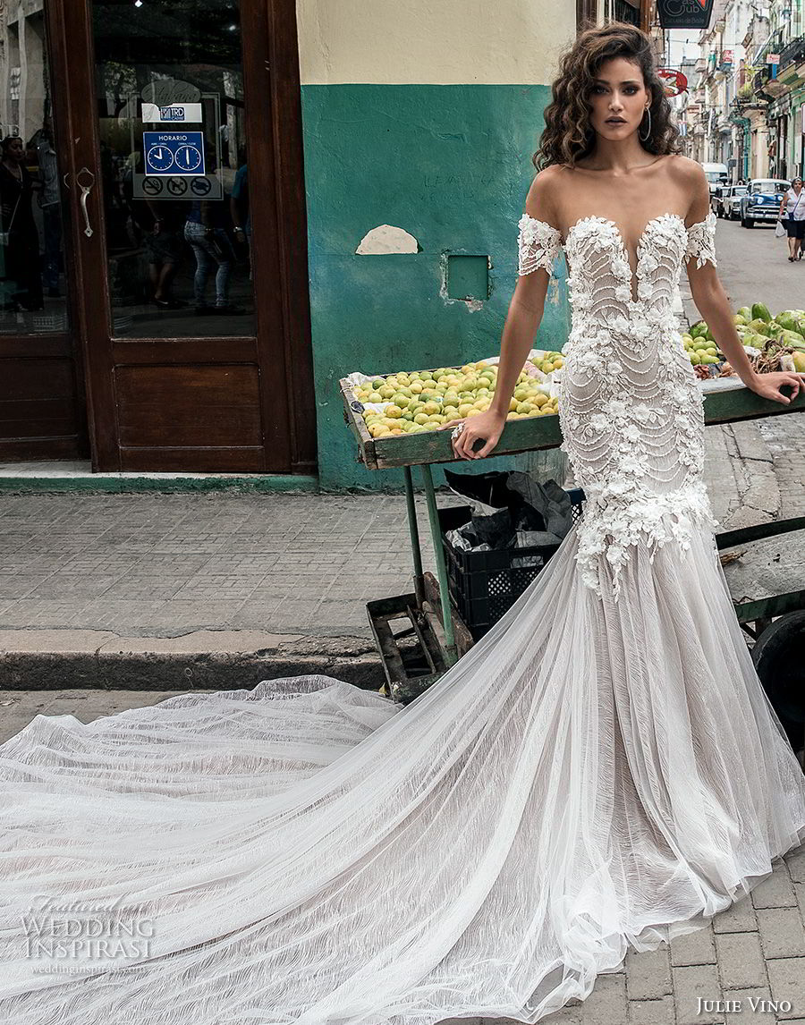 6ebe19d7c3 julie vino fall 2018 havana off the shoulder deep plunging sweetheart  neckline heavily embellished bodice tulle