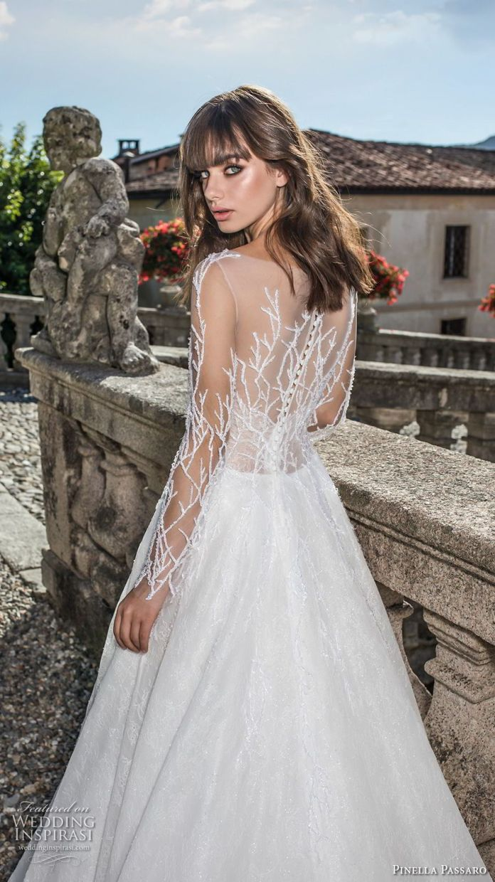pinella passaro 2018 bridal long sleeves illusion bateau straight across neckline heavily embellished bodice romantic a line wedding dress covered embellished back sweep train (11) zbv -- Pinella Passaro 2018 Wedding Dresses