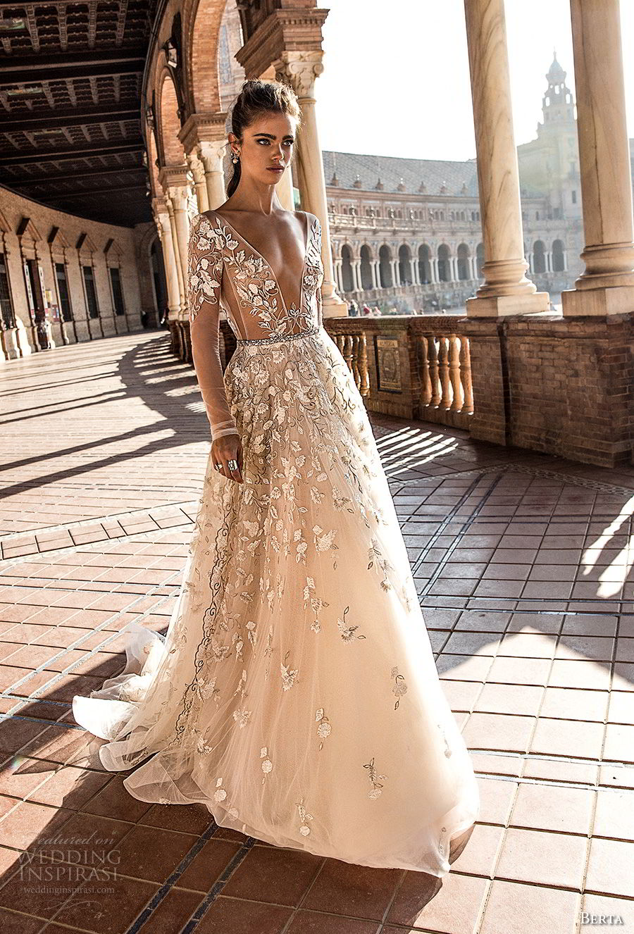 berta fall 2018 bridal long sleeves deep plunging v neck full embellishment romantic sexy a line wedding dress open back chapel train (3) mv