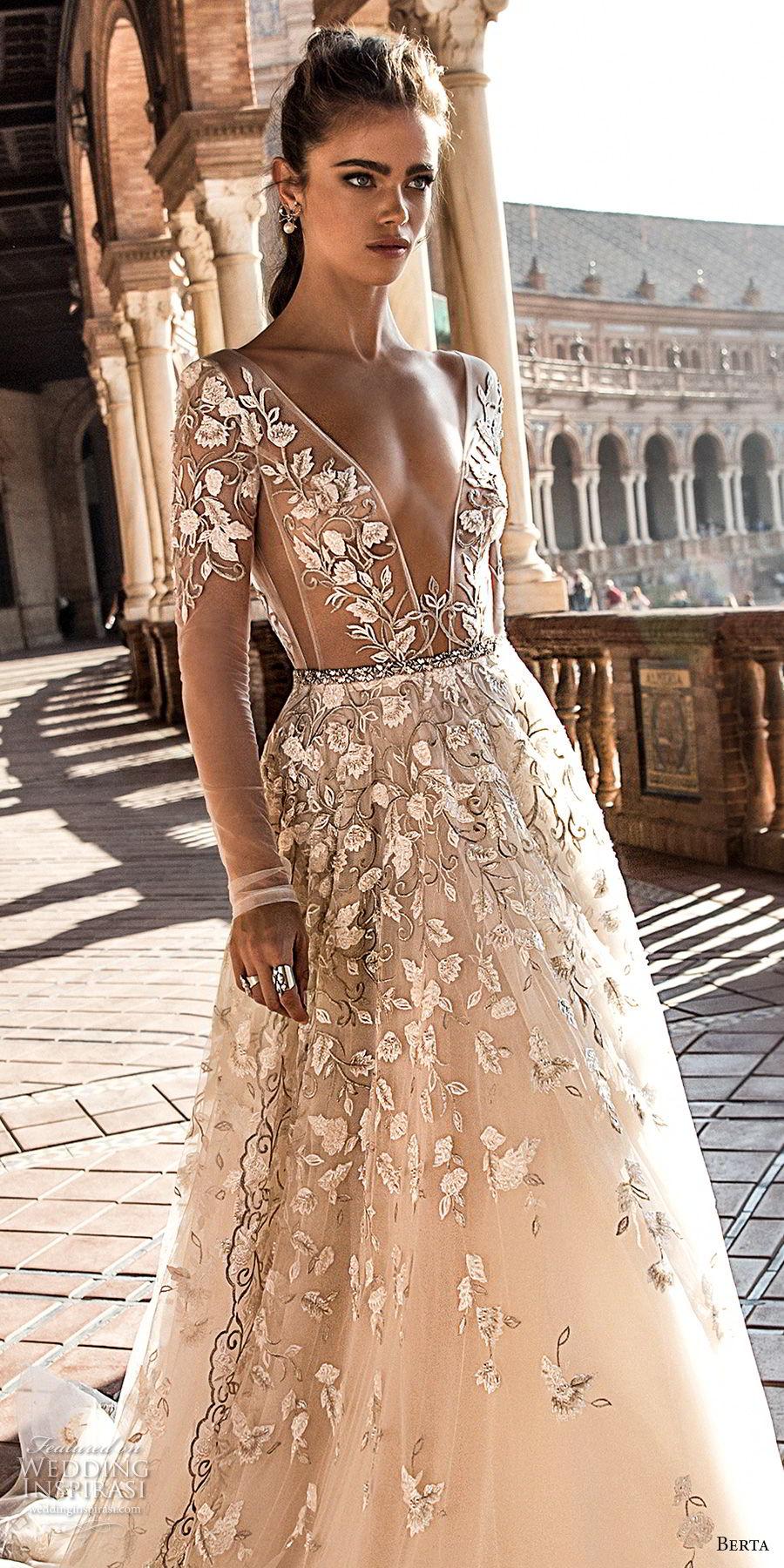 berta fall 2018 bridal long sleeves deep plunging v neck full embellishment romantic sexy a line wedding dress open back chapel train (3) zv