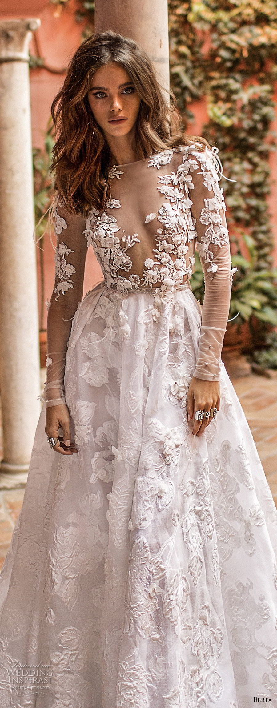 berta fall 2018 bridal long sleeves illusion bateau deep v neck heaily embellished bodice romantic sexy a line wedding dress chapel train (26) zv
