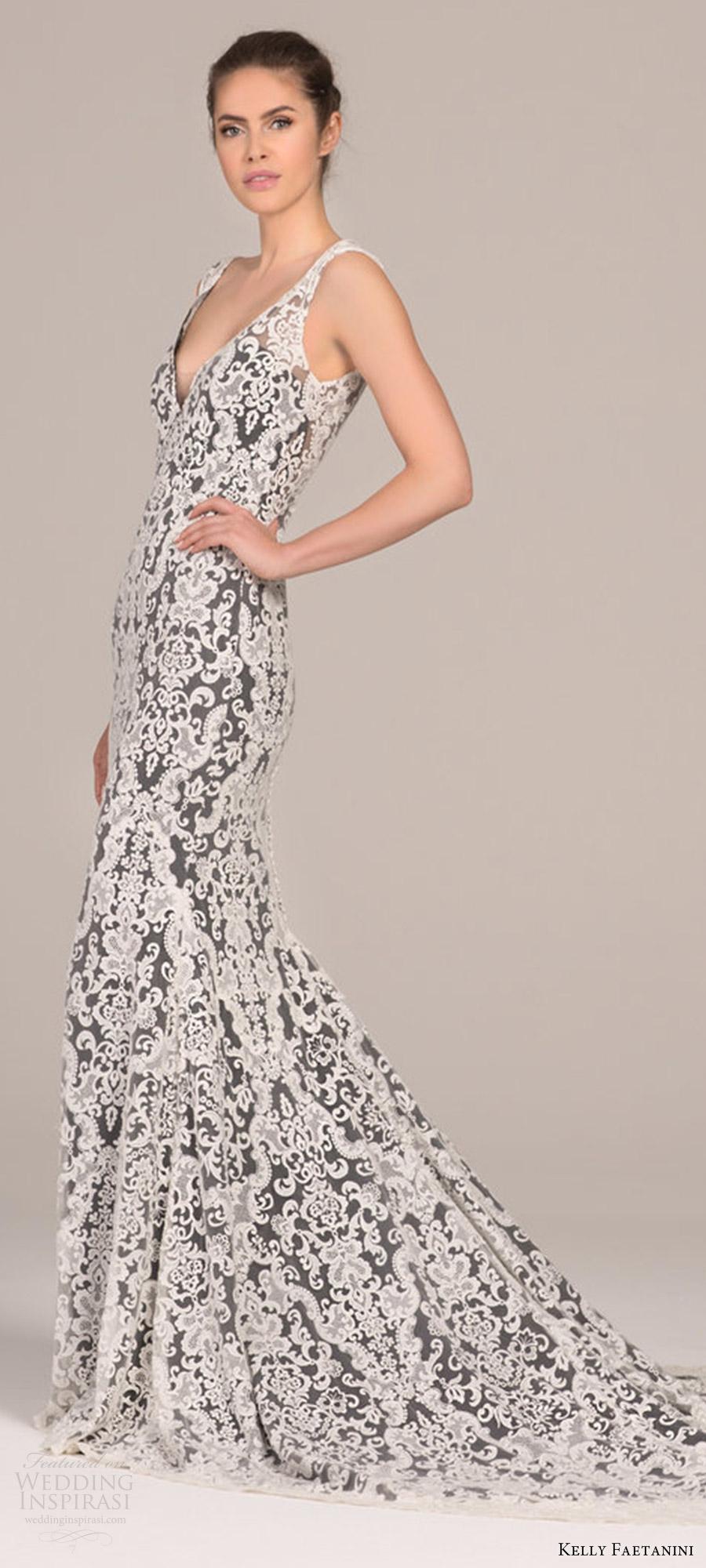 ba3763095 kelly faetanini 2018 bridal trends sleeveless v neck lace sheath wedding  dress (cleo) mv