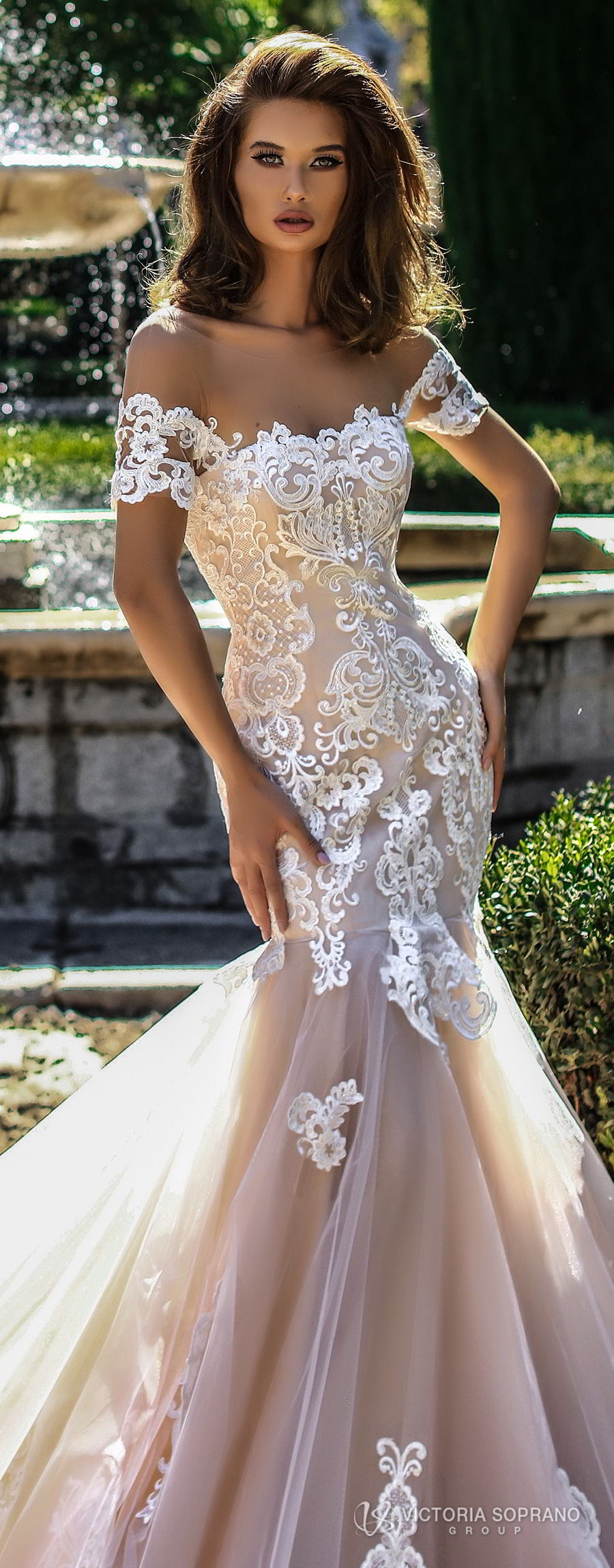 victoria soprano 2018 bridal short sleeves illusion bateau semi sweetheart neckline heavily embellished bodice elegant blush color mermaid wedding dress open back chapel train (brenda) lv