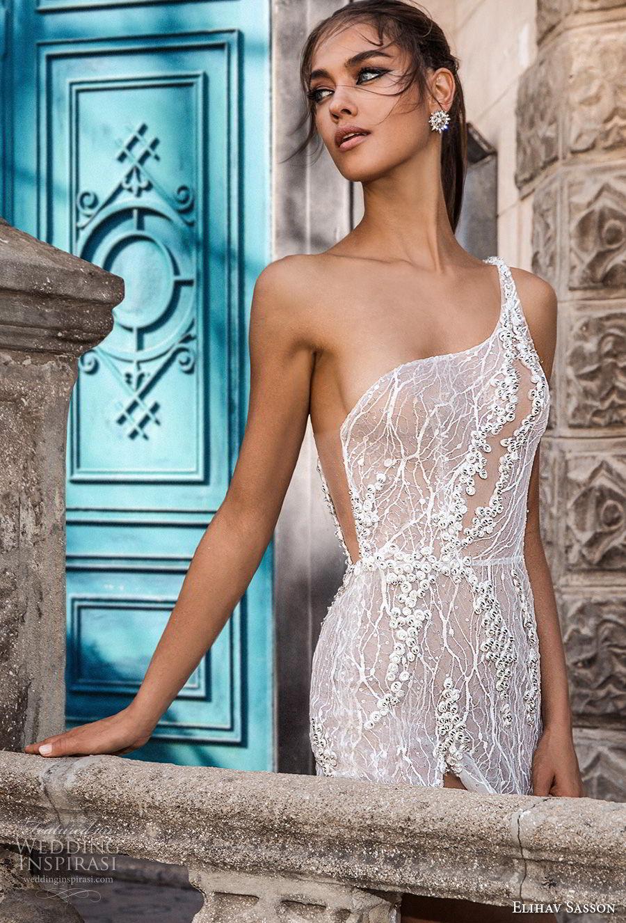 elihav sasson 2018 capsule bridal sleeveless one shoulder full embellishment high slit romantic sexy soft a line wedding dress low open back chapel train (2) zv