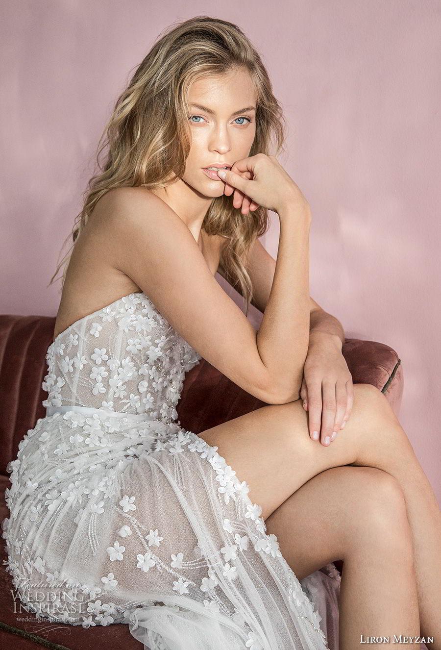 liron meyzan 2018 bridal one shoulder sweetheart neckline full embellishment high slit skirt modified a line wedding dress open back sweep train (2) zsdv