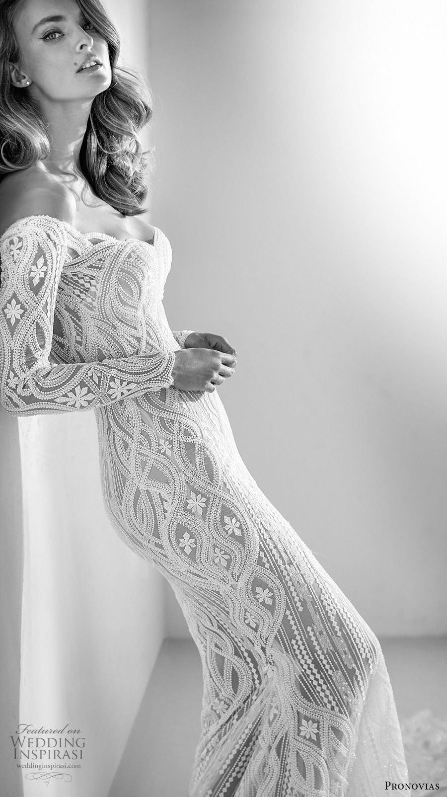 797e046c4b atelier pronovias 2018 bridal long sleeves sweetheart neckline full  embellishment elegant fit and flare wedding dress