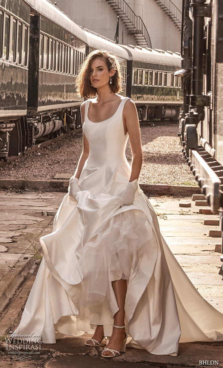 bhldn 2018 away bridal sleeveless scoop neckline simple clean bodice satin skirt classic ball gown a line wedding dress scoop back chapel train (3) mv