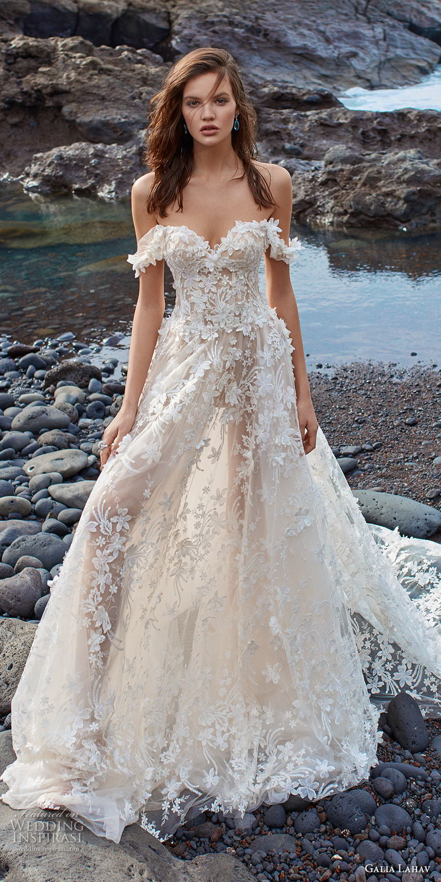 galia lahav gala 2018 bridal off the shoulder sweetheart neckline full embellishment romantic a line wedding dress chapel train (2) mv
