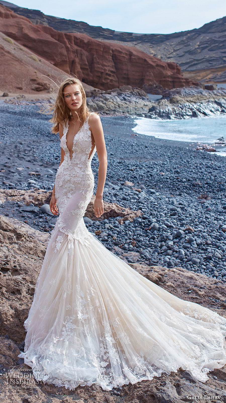 galia lahav gala 2018 bridal sleeveless deep v neck heavily embellished bodice open side elegant sexy mermaid wedding dress v back chapel train (3) mv