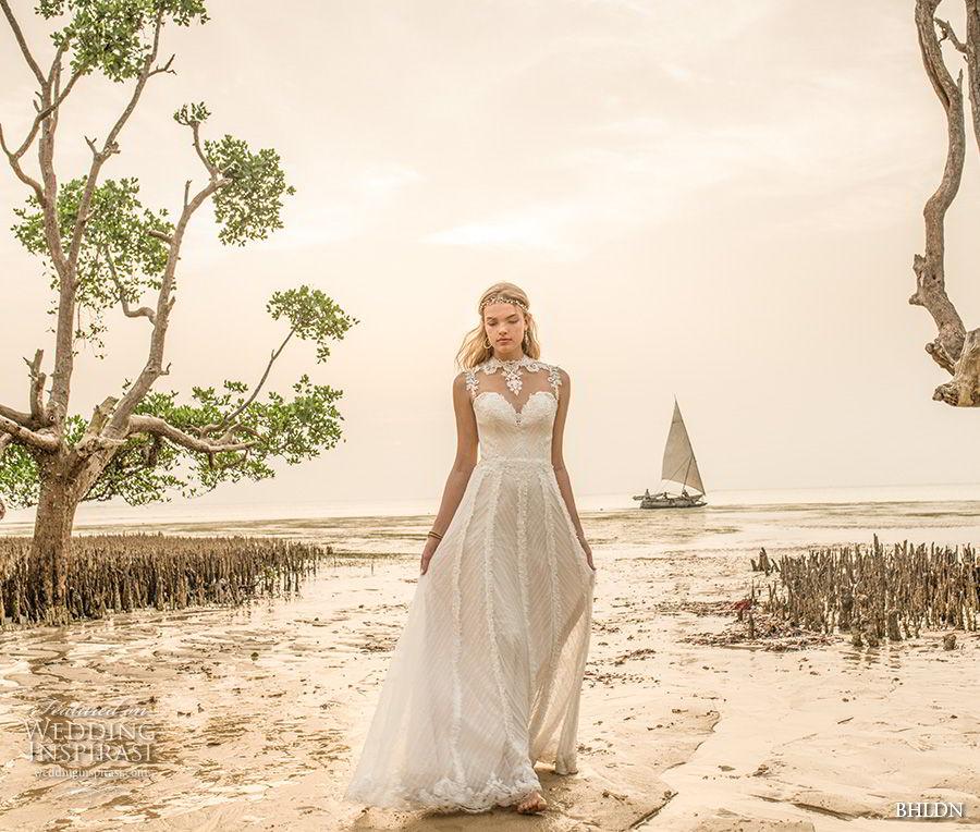 bhldn 2018 whispers bridal sleeveless illusion jewel sweetheart neckline full embellishment romantic a line wedding dress sheer button back sweep train (2) mv