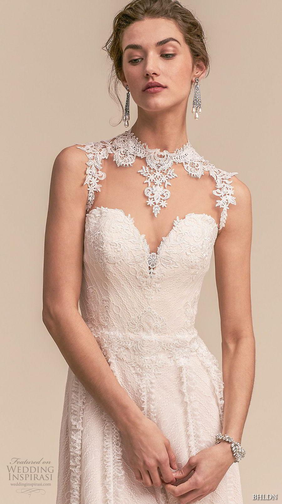 bhldn 2018 whispers bridal sleeveless illusion jewel sweetheart neckline full embellishment romantic a line wedding dress sheer button back sweep train (2) zv