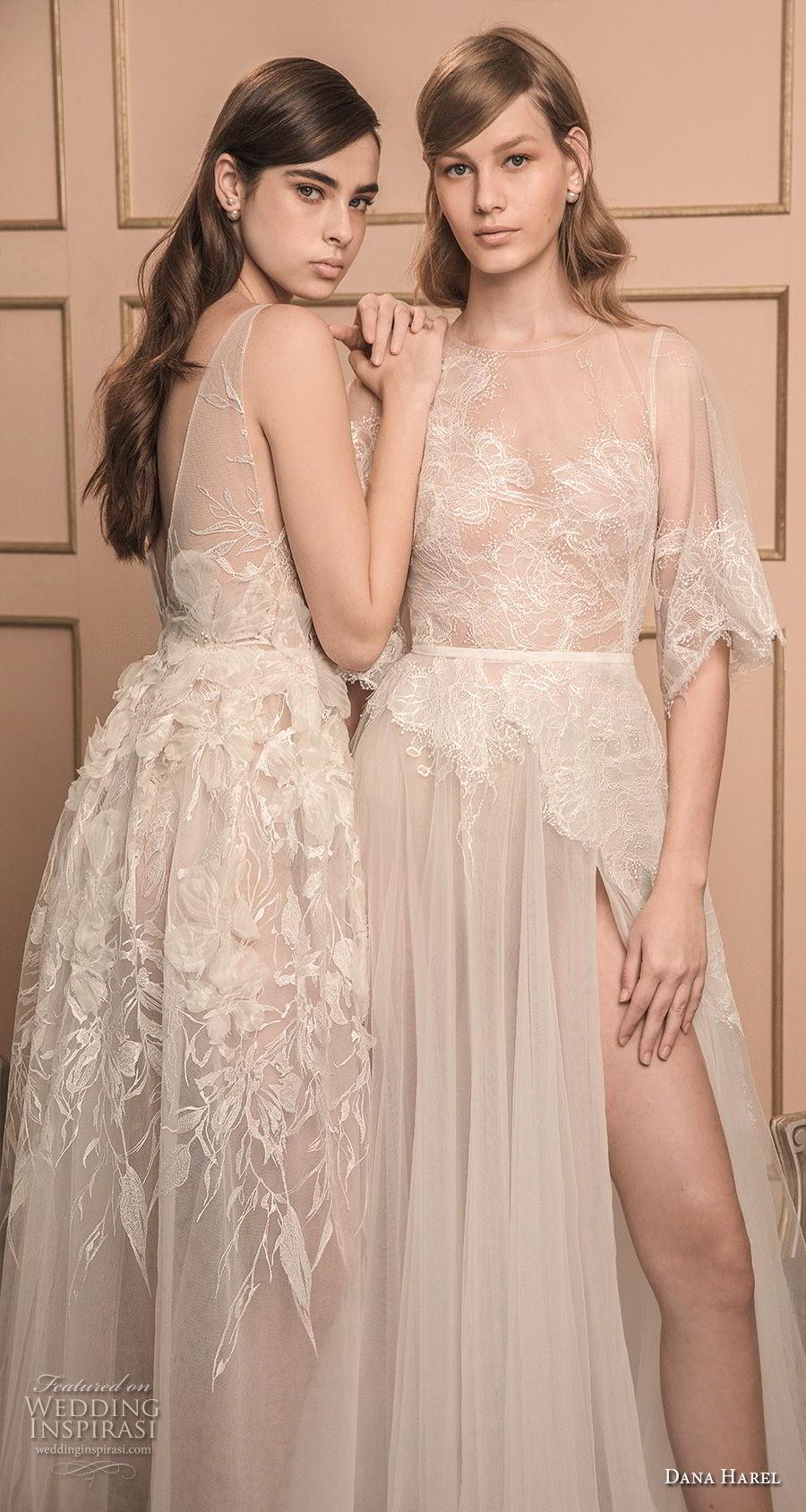 dana harel 2018 bridal half bell sleeves illusion jewel neck heavily embellished bodice high slit skirt romantic a line wedding dress v back sweep train (4) zv