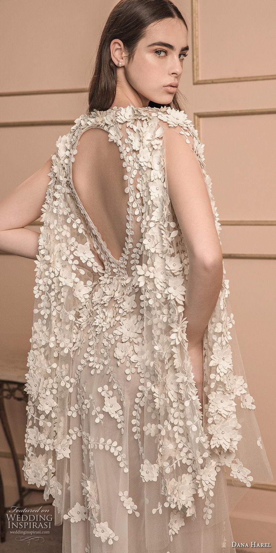 dana harel 2018 bridal long hanging sleeves v neck heavily embellished bodice romantic a line wedding dress keyhole back sweep train (2) bv