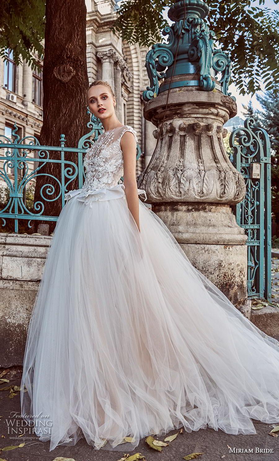 miriams bride 2018 bridal cap sleeves illusion bateau sweetheart neckline tulle skirt romantic ball gown a line wedding dress v back chapel train (1) mv