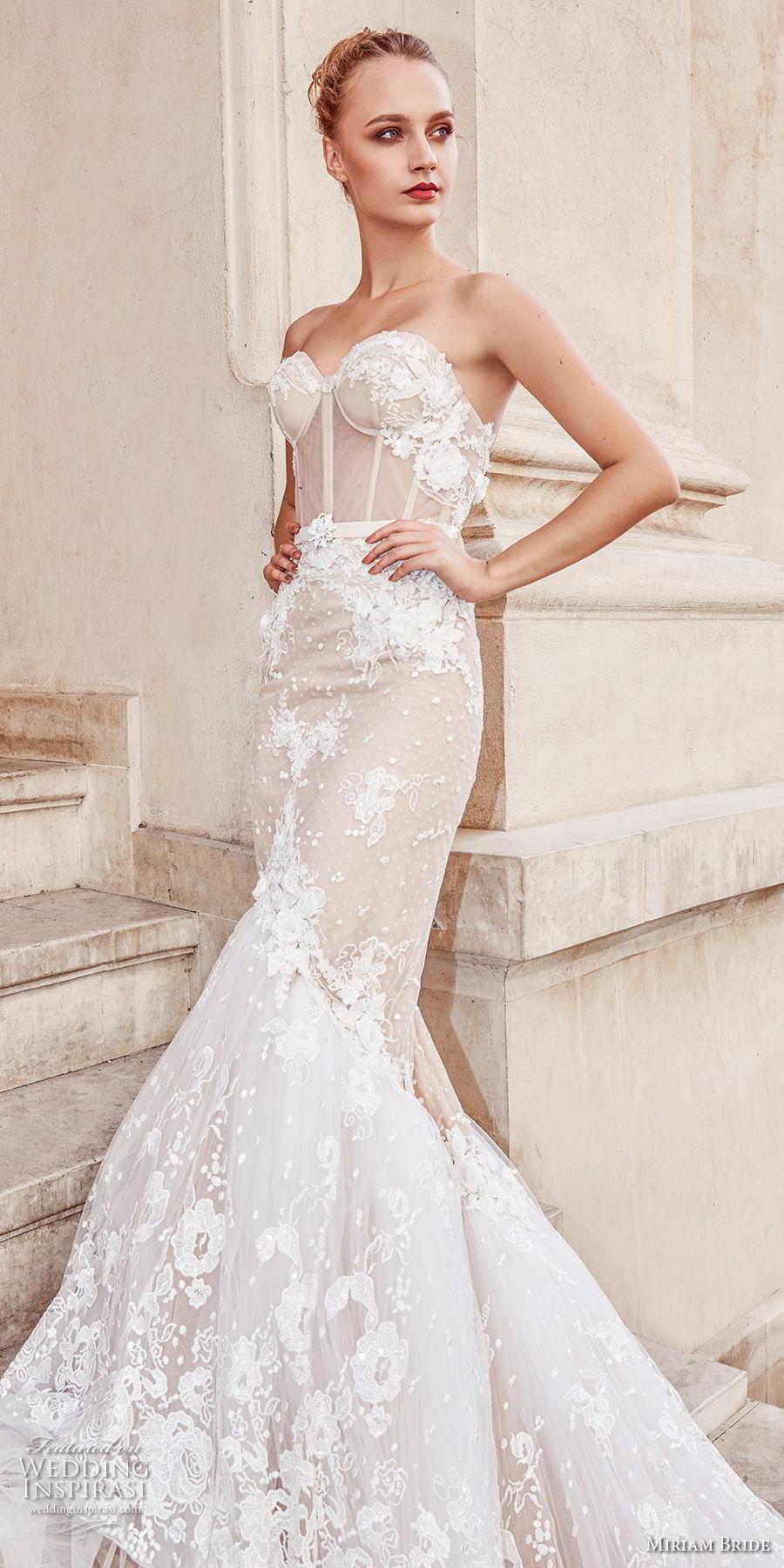 miriams bride 2018 bridal strapless sweetheart neckline full embellishment bustier elegant sexy mermaid wedding dress royal train (3) zv
