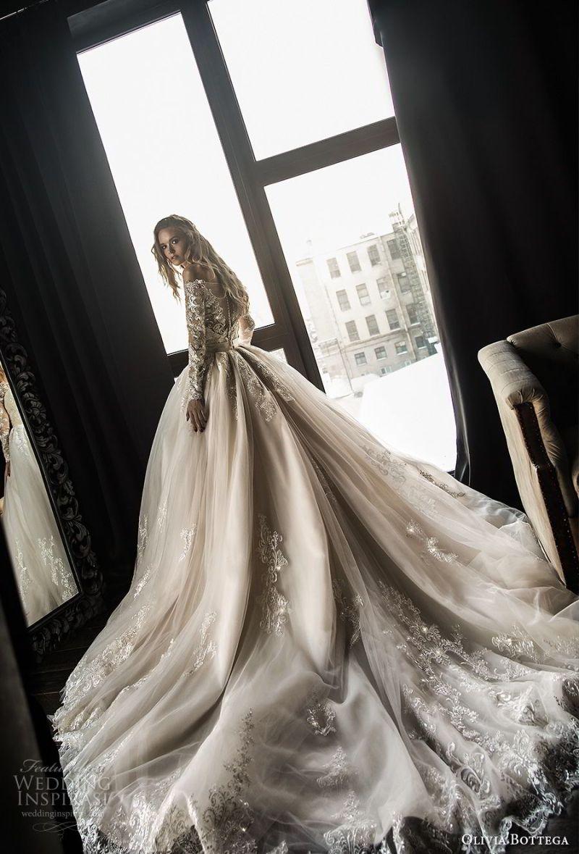 olivia bottega 2018 bridal long sleeves off rhe shoulder sweetheart neckline heavily embellished bodice princess ball gown wedding dress sheer lace button back royal train (4) bv