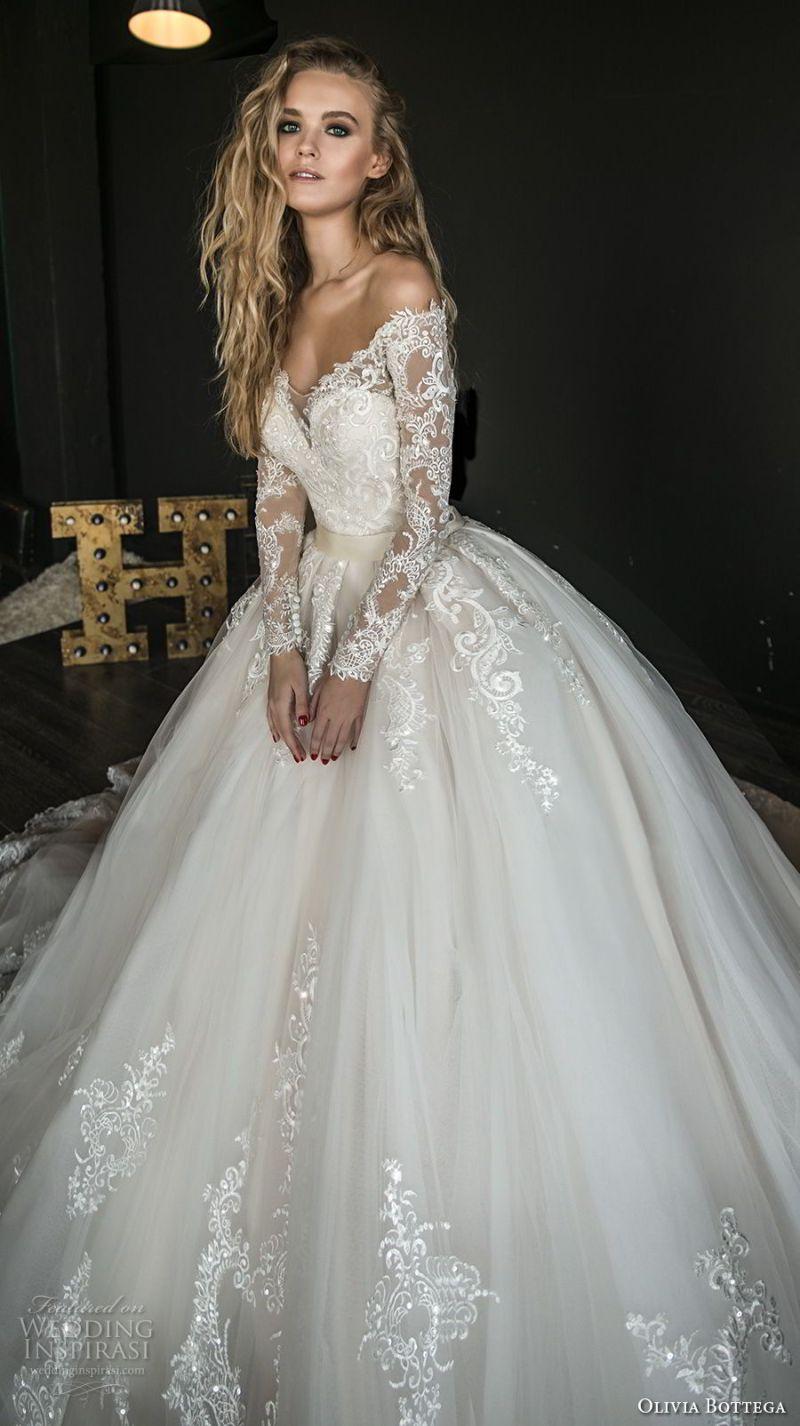 olivia bottega 2018 bridal long sleeves off rhe shoulder sweetheart neckline heavily embellished bodice princess ball gown wedding dress sheer lace button back royal train (4) mv