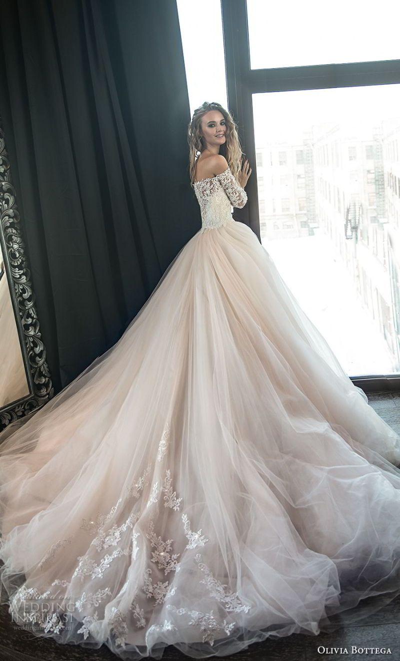 olivia bottega 2018 bridal long sleeves off the shoulder sweetheart neckline heavily embellished bodice princess romantic blush ball gown wedding dress royal train (1) bv